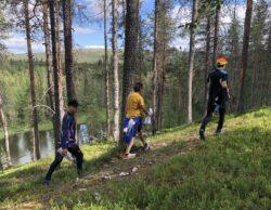 Kolme miestä kävelee metsäpolkua pitkin tunturimaisemassa.